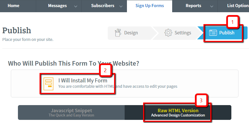 AWeber Form Publish HTML