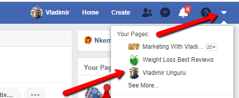 facebook select page
