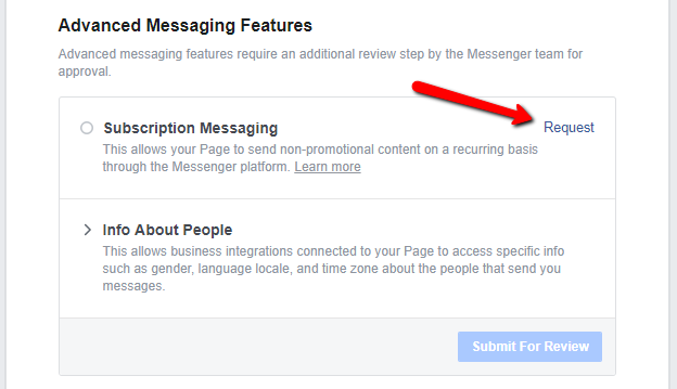 facebook subscription messaging request